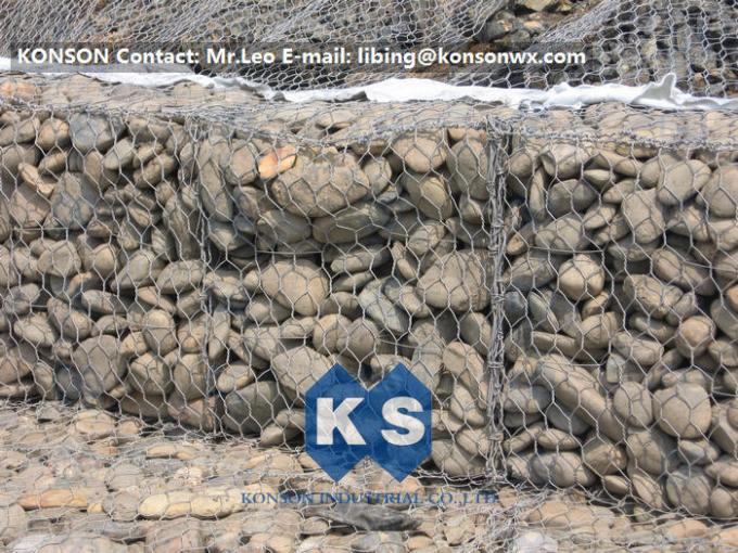 Hot-Dip Galvanized Gabion Box 2x1x1M Of Twited Hexagonal Wire Mesh , PVC Coated