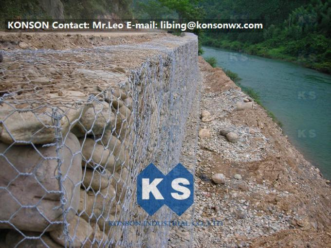 Durable Gabion Retaining Wall 3.0 - 4.5mm Dia with PVC Coated Stainless Steel Galvanized Wire