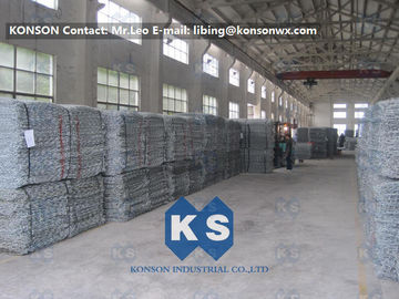 China PVC Coated Gabion Basket Filled With Stone , Electro Galvanized Gabion Box supplier