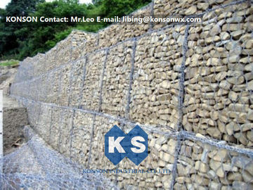 China Durable Gabion Retaining Wall 3.0 - 4.5mm Dia with PVC Coated Stainless Steel Galvanized Wire supplier