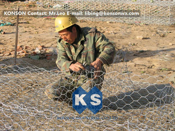 China Custom Gabion Stone Cages Hexagonal Wire 80 x 100MM For Protection Engineering supplier