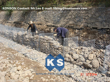 China Galvanized Hexagonal Wire Mesh Gabion Basket Defending Rock For Seaport Project supplier