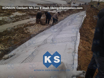 China Hot-Dip Galvanized Gabion Box 2x1x1M Of Twited Hexagonal Wire Mesh , PVC Coated supplier