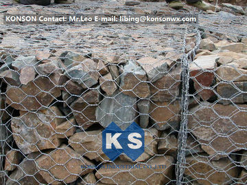 China PVC / Zinc Coated Wire Mesh Gabion Retaining Wall , Galvanized Hexagonal Wire Fence supplier