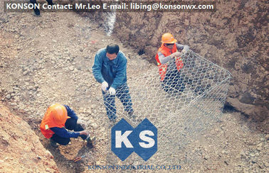 China Galvanized Gabion Box Of Twisted Hexagonal Wire Mesh , Galfan Coated Gabion Basket supplier