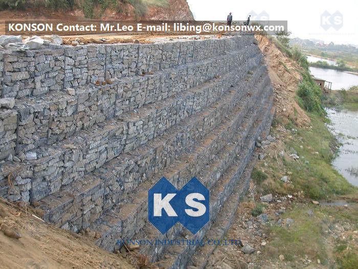 Grillage hexagonal de mur de sout nement de gabion de la d fense avec le fil galvanis 2 7mm - Grillage pour gabion ...